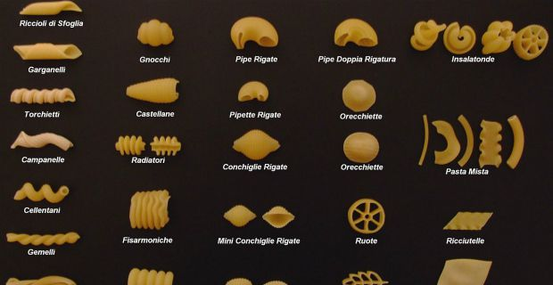 Pasta shapes and names