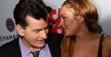 Charlie Sheen and Lindsay Lohan get friendly at premiere