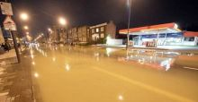Burst pipe on London's Clapham Road reminds residents of UK floods