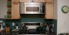 Choose subtle colours for small kitchens