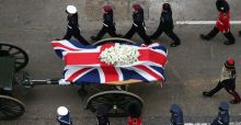 Protests on route of Thatcher funeral cortege