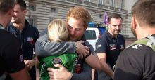 Prince Harry warmly welcomes ex-servicemen and woman after their 1000 mile walk