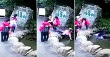 Woman poses for photo but accidentally falls down a well