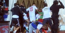 Serbia Albania fight at football match   Euro 2016 qualifier
